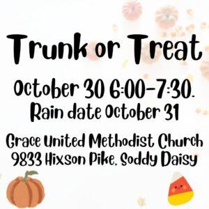 Trunk or Treat: October 30, 2021 6:00-7:30 (rain date October 31)